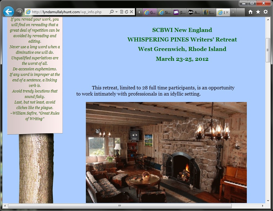 SCBWI Whispering Pines Writer's Retreat
