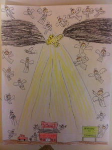 Drawing done by 7th grader, Connor, from Lousiana (used with permission)
