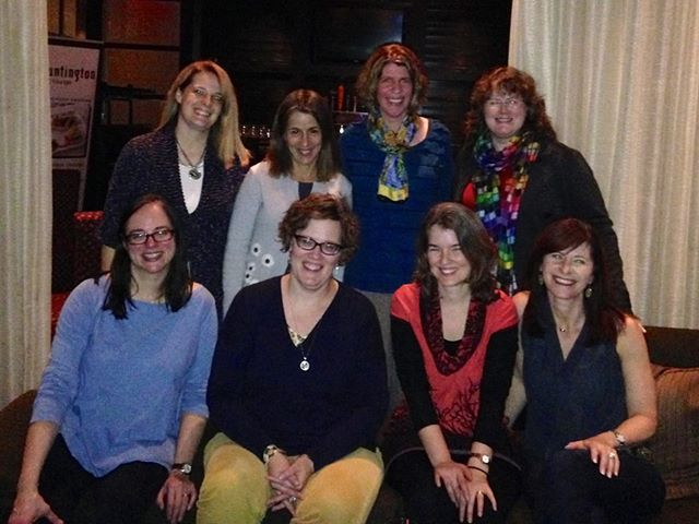 Happy to visit with lit agency friends! (Front:) Susan Meyer, Erin Murphy (my agent), Joan Paquette, Elly Swartz  (Back:) Jennifer Nielsen, Audrey Vernick, Nancy Tupper Ling, moi
