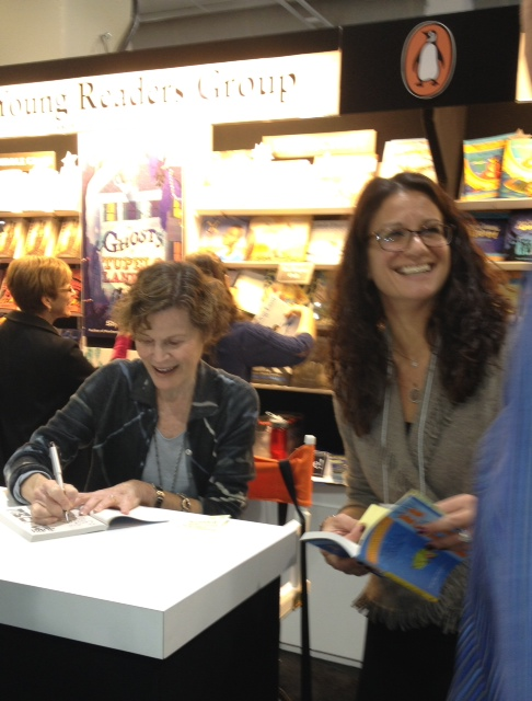Hanging out in the Penguin Booth with the phenomenal Judy Blume. WOW! Also, there with Eileen Bishop Kreit from Puffin. Always so happy to see Eileen. :-)