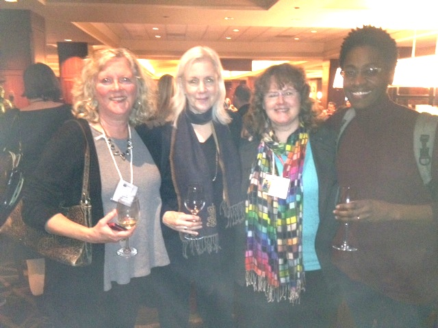 "Editor and Publisher, Nancy Paulsen, with ""her girls"" at NCTE. Beck McDowell, Nancy Paulsen, moi, Jacqueline Woodson"