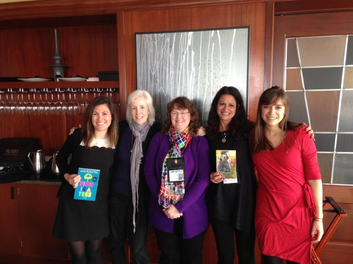 Also with me in spirit! My Penguin peeps: Eileen Kreit, Nancy Paulsen, Venessa Carson, and Alexis Watts. (I wish Sara LaFleur were in this picture, too!)  My editor and publisher, Nancy Paulsen, is phenomenal. She is the steel penny of editors--one of a kind! I am most grateful for the day she called and every day we've worked together since.