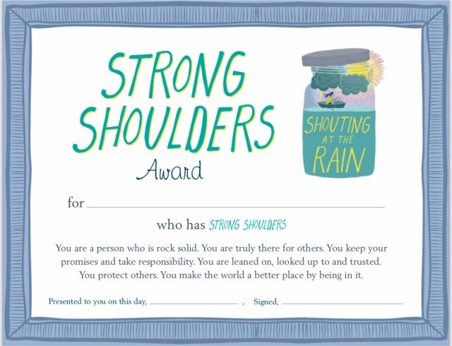 strong shoulder award certificate